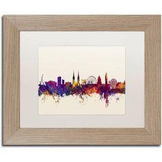 Trademark Fine Art Belfast North Ireland Skyline Canvas Art by Michael Tompsett, White Matte, Birch Frame, Size: 11 x 14, Purple