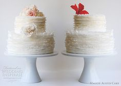 Change up the flowers and the flavors and there's my crepe wedding cake.  If only I were truly French. Beautiful Wedding Cakes, Beautiful Cakes, Amazing Cakes, Ruffle Cake, Fondant Ruffles, White Cakes, Cake Central, Cake Decorating Tutorials, Cake Tutorial