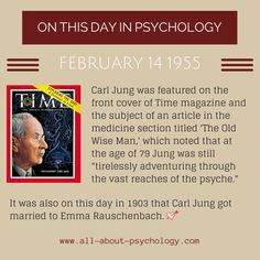 14th February 1955. Carl Jung was featured on the front cover of Time magazine. Studying psychology? Click on image or GO HERE --> www.all-about-psychology.com for free psychology information & resources. #psychology