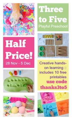 Three to Five: Playful Preschool is full of creative, hands-on learning, including math, literacy, science, art and play. Half price, just $4.49, this week only. use code thanks3to5