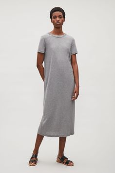 COS image 1 of Jersey dress with drawstring back in Grey