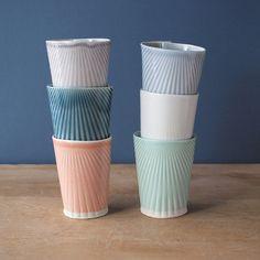 Found on Design Sponge, made by Villarreal Ceramics Ceramic Cups, Glass Ceramic, Ceramic Pottery, Mugs Sharpie, Tables Tableaux, Mug Diy, Mug Design, Kitchenware, Tableware
