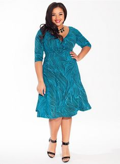 Alex Plus Size Dress in Turquoise Waves at Curvalicious Clothes www.curvaliciousclothes.com TAKE 15% OFF Use code: SVE15 at checkout