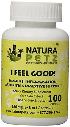 Natura Petz I Feel Good Immune Inflammation Arthritis and Digestive Support for Senior Pets 100 Capsules Extract 150mg Per Capsule -- Want additional info? Click on the image.