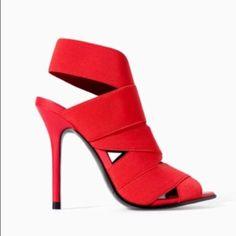 Zara Shoes | Zara Woman Red Bandage Strappy Heels 38 | Color: Black/Red | Size: 8 #GiuseppezanottiHeels Giuseppe Zanotti Heels, Fashion Heels, Zara Shoes, Zara Women, Strappy Heels, Heeled Mules, Womens Fashion, Color Black, Woman