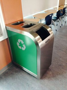 Leaf Triple Stream Recycling Bin adds style to any cafeteria