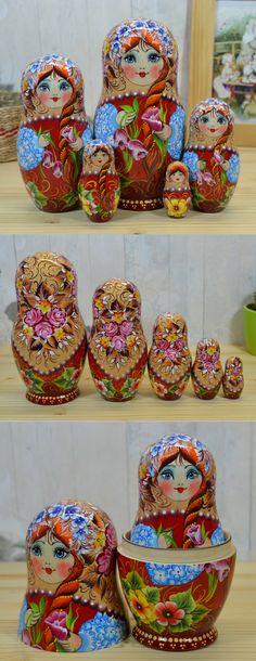Matryoshka nesting doll hand painted by russian artist Nelly Marchenko. More lovely babushka dolls at: http://etsy.com/shop/bestrussiandolls