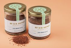 Packaging labels designed by Perky Bros for small-batch coffee roaster and café No. Six Depot