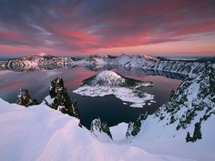 "Wizard Island out of Crater Lake National Park, Oregon. Nicknamed the ""Gem of the Cascades."""