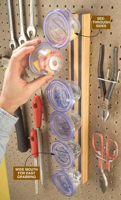 Make this magnetic mini storage system using small magnets and plastic containers. Plus: Get 13 more Instant Storage Solutions: http://www.familyhandyman.com/storage-organization/instant-storage-solutions?pmcode=pin092214A