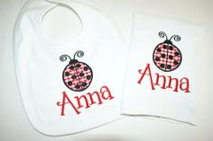 Ladybug Bib & Burp Cloth Set by harborbluedesigns on Etsy, $24.99