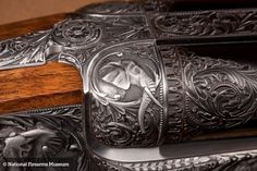 Another of the Holland  Holland built .700 Nitro Express rifles and this Philippe Grifnee engraved .700 double rifle, featuring deeply carved African scenes incorporating elephants as the primary subject, can fire a 1000-grain projectile that can generate as much as 15,000 ft-lbs of energy.