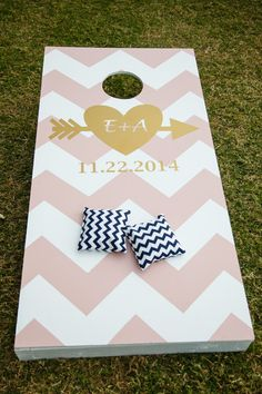 Personalized corn-hole for wedding reception lawn games! {Carrie Wildes Photography}