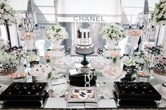 Dessert Table from a Chanel Inspired Birthday Party | Chanel | Coco Chanel inspiration