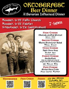 It's finally here! Join us for our 5 course Oktoberfest Beer Dinner!