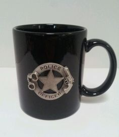 Police Officer Mug Coffee Cup Pen Pencil Holder Ceramic Gift Idea Handcuffs