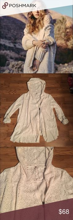 Cream knit zip up hooded sweater Oversized cream knit cardigan. First pic is of similar sweater. Last three are actual sweater Free People Sweaters
