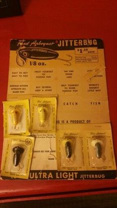 """Arbogast Fly Rod Jitterbug Fishing Lures """"See lures like these & more For Sale @ http://earlyfishinglures.com/"""