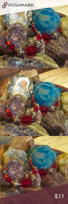 Beautiful beaded hoop earrings! Beautiful assortment of red and silver beads, constructed on memory wire. Jewelry Earrings