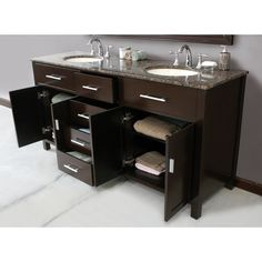 72 Inch Mission Style Double Sink Vanity with Black Granite $1639 ...