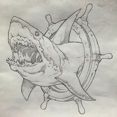 Every tattoo could have a different meaning depending with the symbol which has been used as the principal component in the tattoo. Shark tattoo is usually employed by men. Shark tattoos are a few of the most coveted body arts… Continue Reading → Tattoo Sketches, Tattoo Drawings, Art Sketches, Hai Tattoos, Body Art Tattoos, Animal Drawings, Cool Drawings, Drawings Of Sharks, Shark Art
