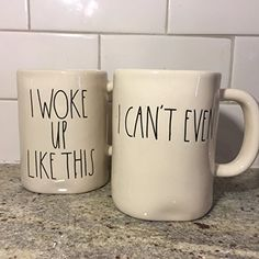 Rae Dunn I Woke Up Like This Cup & I Cant Even Set (2) Mugs By Magenta