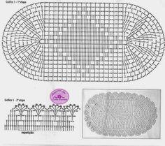 Gráficos de Tapete Oval em Crochê -Amor por Art em Crochê