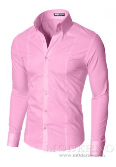 MODERNO High Collar Slim Fit Dress Shirt Pink Camisas Casuales 05cc03e52db