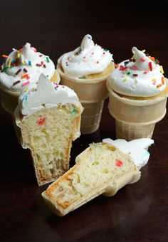 Kids absolutely love these Ice Cream Cone Cupcakes. Make with funfetti cake batter and top with sprinkles of your choice. Cake In A Cone, Ice Cream Cone Cake, Ice Cream Cupcakes, Ice Cream Desserts, Ice Cream Party, Ice Cream Recipes, Easy Desserts, Icecream Cone Cupcakes, How To Ice Cupcakes
