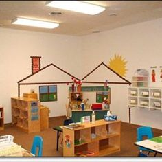 Roofing Tiles Home tin roofing bungalow. Preschool Rooms, Preschool Centers, Learning Centers, Classroom Setting, Classroom Design, Classroom Decor, Preschool Classroom Setup, Dramatic Play Area, Dramatic Play Centers