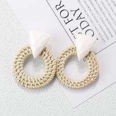 AENSOA Multiple 2019 Korea Handmade Bamboo Braid Pendent Drop Earrings New Fashion Rattan Vine Knit Long Earrings For Women Girl Tassel Drop Earrings, Wooden Earrings, Dainty Earrings, Round Earrings, Statement Earrings, Women's Earrings, Multiple Earrings, Trendy Jewelry, Jewelry Gifts