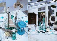 Sky blue nautical wedding decor for a destination beach wedding in sunny Punta Cana.