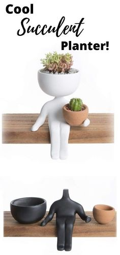 Love this crazy cute succulent planter! This trendy ceramic pot person planter is handmade and has been featured all over design magazines and blogs. And he's holding a pot for more succulents - how meta! :) Available in black or white and a variety of positions - so cute on a book shelf or desk - what an awesome gift!  #succulents #succulentplanter #affiliatelink  #personplantpot #handmadesucculentplanter #trendyplanter #giftideas
