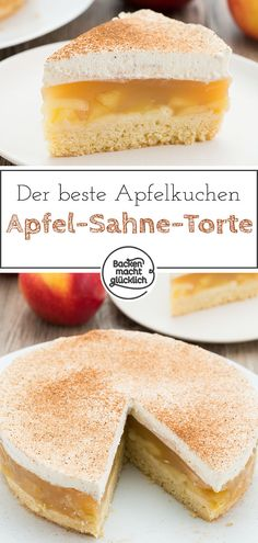 Apfel-Sahne-Torte mit Pudding This apple pie with cream is the best apple pie ever. Pudding Desserts, Pudding Cake, Dessert Recipes, Short Pastry, Best Apple Pie, Shortcrust Pastry, Cream Recipes, Cream Cake, Cheesecake Recipes