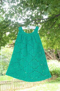 Green Summer Diamonds Crocheted Toddler Dress
