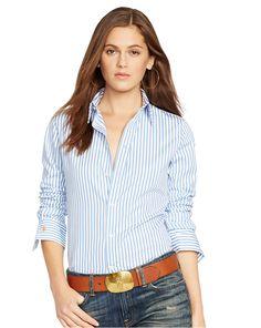 Striped Cotton Shirt - Long-Sleeve  Shirts - RalphLauren.com