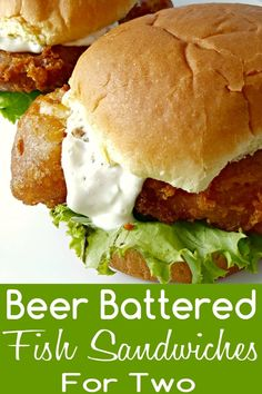 Battered Fish Sandwiches for Two are light flaky, tender and moist cod coated in a beer batter is fried until crispy and golden brown. Serve on a bun with homemade tartar sauce and lettuce. This recipe serves two people for a delicious lunch or dinner. Fish Recipes, Seafood Recipes, Cooking Recipes, Healthy Recipes, What's Cooking, Beer Battered Cod, Homemade Tartar Sauce, Sandwiches, Gastronomia