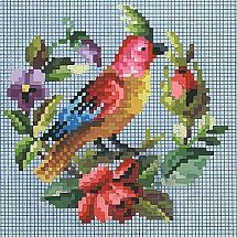 Cross stitch chart coloured bird and wreath