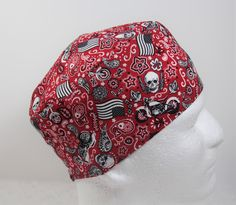 Mens/Womens scrub hat, Flag, skull and motorcycle bandana, surgical cap, or skull cap with a Velcro closure-ScrubsWithMomAndMe by ScrubsWithMomAndMe on Etsy
