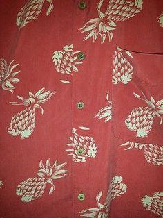 Mens LARGE Silk HAWAIIAN Aloha CRUISE SHIRT Icon PINEAPPLES Tropical RED Luau