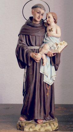 Catholic Prayers, Catholic Saints, Oracion A San Antonio, Saint Anthony Of Padua, St Clare's, Christmas Sewing, St Francis, Statues, Jesus Christ