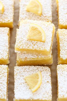 These Classic Lemon Bars feature an easy homemade shortbread crust and a sweet and tangy lemon filling. These bars are so easy to make! Doubled the recipe and made on a cookie sheet. So good and pretty easy too! Lemon Desserts, Lemon Recipes, Baking Recipes, Sweet Recipes, Delicious Desserts, Dessert Recipes, Yummy Food, Baking Pan, Bar Recipes