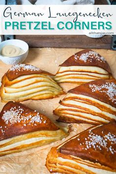 Make your own German soft pretzel corners - delicious buttery dough, sprinkled with coarse salt, with striking layers that are impressive and fun to eat. | allthatsjas.com | #pretzels #lye #pastry #bread #fromscratch #bake #German #breakfast #snack #easy #corners #triangles #coarsesalt #allthatsjas #recipes #Oktoberfest #side #dough #flour #yeast Pastry Recipes, Bread Recipes, Parchment Paper Baking, Good Food, Yummy Food, On The Go Snacks, Baking Set, Soft Pretzels, Bread And Pastries