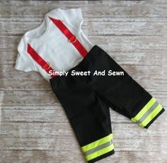 Firefighter Baby Boy OR Girl Outfit BLACK with RED suspenders, baby shower gift… Baby Halloween Costumes For Boys, Cute Costumes, Family Costumes, Costume Ideas, Fireman Costume, Black Baby Boys, Firefighter Baby, Shower Outfits, Baby Boy Outfits