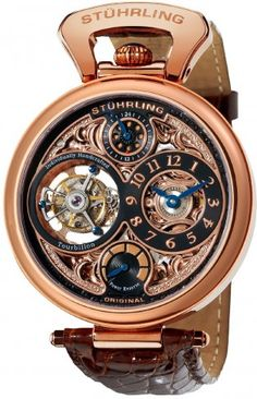 Stuhrling Original 127D334514 Sovereign Tourbillon Automatic Skeleton Watch For Men