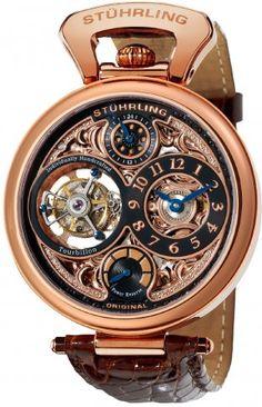 Stuhrling Original 127D334514 Sovereign Tourbillon Automatic Skeleton Watch For Men