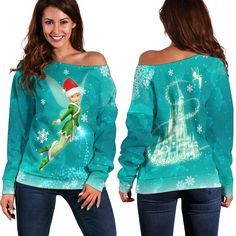 Tinker bell Christmas Shoulder Sweater Disney Clothes, Disney Outfits, Tinker Bell, Christmas Bells, All Design, Size Chart, That Look, Just For You, Graphic Sweatshirt