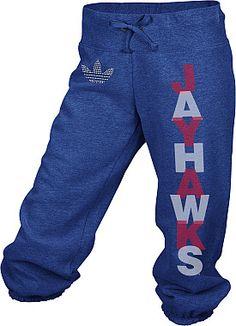 adidas Kansas Jayhawks Women's Broken Word Cropped Capri Pant