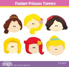 24 Fondant princess toppers for cupcakes or cookies by mjtabush, $48.00