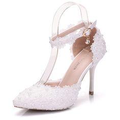 [AU$48.00] Women's Leatherette Stiletto Heel Closed Toe Pumps Sandals MaryJane With Buckle Rhinestone Applique